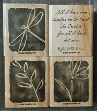 Stampin' Up ALL I HAVE SEEN  Set 4 Wood Mounted Rubber Stamps Lot Dragonfly