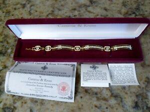 Camrose & Kross Gold Tone Jacquline Kennedy JBK Bracelet Crystals and Black Onyx