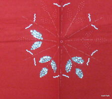 Vtg Felt Christmas Treeskirt Red stamped snowflake Embroidery Ufo sequin 45""