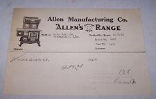 1923 ALLEN MANUFACTURING CO Invoice Stove Copper Iron Range NASHVILLE TENNESSEE