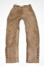 Vintage Brown Leather NATURAL LIFE Straight Women's Trousers Pants Size XS L28""