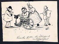 Eugen von Baumgarten München Karikatur Zeichnung Bettler Betrug Allmosen betteln
