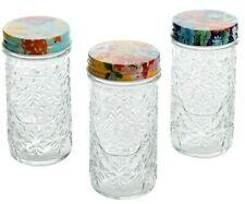 New listing Pioneer Woman Floral Embossed Glass Spice Jars Melody Spring Bouquet Celia Five