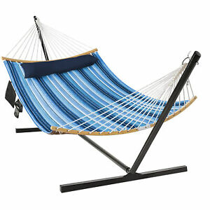 Swing Hammock Chair Set Hanging Bed w/ Heavy-Duty Steel Stand Cup Holder