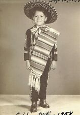 Vintage Old 1950's Photo of Cute Mexican American Boy Mariachi Outfit Sombrero