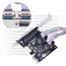 PCI-E to Dual Serial DB9 RS232 + DB25 Parallel Controller Adapter Card BS3