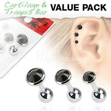 "3 Pcs 16G~1/4""- 6mm Value Pack of Assorted 316L Tragus Bar with Black Cz Gem Top"