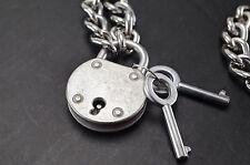 "Padlock Lock Pendant Charm Vintage Style 19.5"" Choker Necklace-Antique Silver"