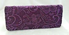 Purple ~Lace & Satin Bridal/ Prom/ Evening Clutch Purse Cocktail Bag