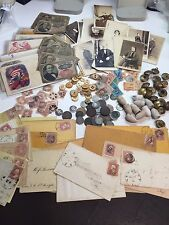 13 PC CIVIL WAR LOT CSA/UNION:BUTTONS-PHOTOS+COINS+CURRENCY+STAMPS+POLITICAL#%50