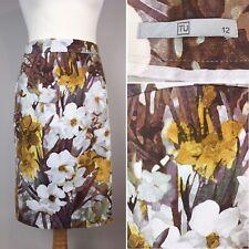 Tu Straight Pencil Skirt Watercolour Cotton Knee Length UK 12 Stretchy Yellow
