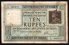 INDIA 10 RUPEES P5 B 1917 GB UK BRITISH KING GEORGE V DENNING V RARE BANK NOTE