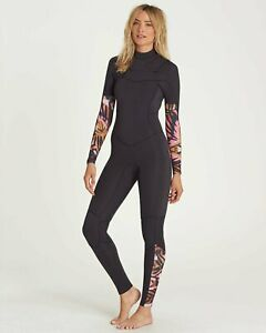 NWT 240$ Billabong 3/2 Salty Dayz Chest Zip Fullsuit Black Floral JWFUNBS3