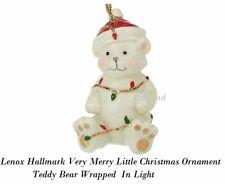 Lenox Hallmark Very Merry Little Christmas Ornament Teddy Bear Wrapped  In Light