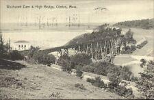 Clinton MA Dam & Bridge c1910 Postcard