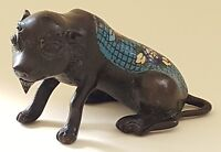 Japanese bronze & blue cloisonné vintage Victorian Meiji oriental antique dog