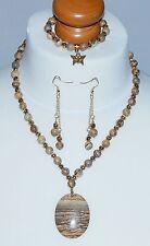 Picture Jasper Pendant & Picture Stone Bead Necklace, Bracelet & Earring Set NEW