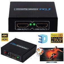 1 INPUT 2 OUTPUT HDMI SPLITTER 2 WAYS SWITCH BOX Hub SUPPORT FULL 4K HD 3D UK