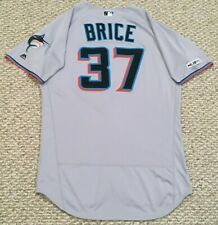 BRICE size 44 #37 2019 MIAMI MARLINS game used jersey road gray MLB HOLOGRAM