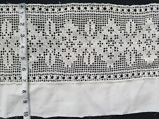 A31 Antique Filet Crochet Lace 1yd Flowers Wide Trim Edging Salvage Primitive