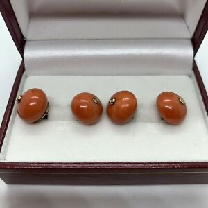 Antique Victorian 9k yellow gold Mediterranean salmon red coral double cufflinks