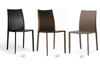 2 Black Brown Or Taupe Leather Dining Accent Office Chairs Modern Designer