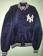 Vintage Mcauliffe MLB New York Yankees Satin Jacket Bomber Blue Men's L 70s USA