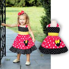 Toddler Baby Girls Minnie Mouse Dress Kids Cartoon Summer Vest Skirt Party Dress