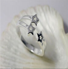 Wholesale 925 Sterling Silver Plated Women Fashion Three Stars Rings SIZE Open
