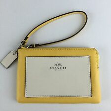 NWT Coach F65758  Wristlet Crossgrain Leather Corner Zip Wallet SV/Canary