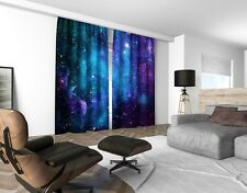 Pair of Ready Made 3d Photo Print Galaxy Nebula Design Curtains Tape Ring Top