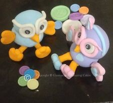 10cm Edible Fondant Hoot / Hootabelle Owl & Buttons & Age & Name Cake Topper