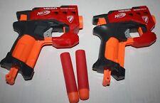 Lot of 2 NERF N-Strike Soft Dart Guns Mega Bigshock Single Shot Blasters 2 darts