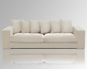 AMARIS Elements   Samt Sofa 'Monroe' 4 Sitzer beige 4er Couch creme 2.65m