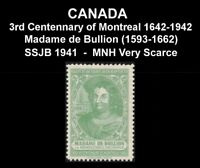 "CANADA SSJB 1941 SEAL ""MADAME De BULLION (1593-1662)"" SCARCE VF MNH POSTER STAMP"