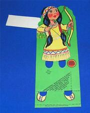 VTG 1930 LUCKY STRIKE CIGARETTES ADVERTISING Amer. INDIAN GIRL TALLY PLACE CARD