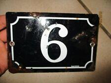Ancien Numéro Ancienne Plaque Emaillée de Rue Maison Porte N° 6 émail girod