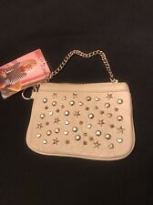 Betsey Johnson Top Zip Super Star Ivory 100% Leather Wrist Bag-Wallet New $78