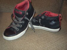 CONVERSE ALL STAR HIGH TOP ATHLETIC SHOE-BLACK/RED-JUNIOR SIZE 3- NICE!