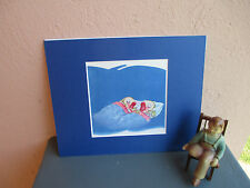 retro illustration of fish twins in bed for child's room or bath  1946