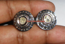 925 Polki Victorian Studs Design Earrings Antique Rose Cut Diamond 1.40ct Silver