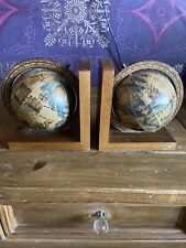 Vintage Rotating Globe Book Ends X2