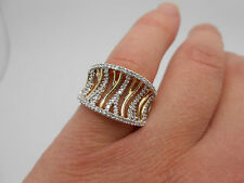Gorgeous Very Wide 14K Yellow Gold Diamond Fancy Band Ring 1.00 Carat Size 7