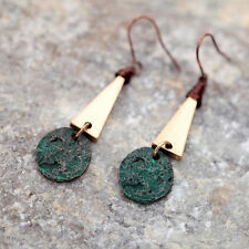 Gold Patina Copper Hammered Geometric Drop Dangle Earrings Triangle Discs Green