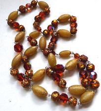 VINTAGE Art Deco VENEZIANA LAVA FOIL Collana con perla di vetro