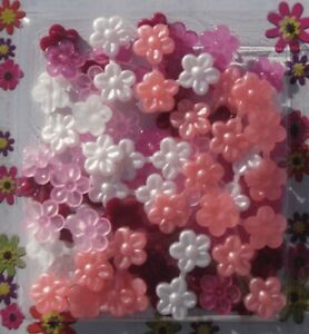 Mini X-small double-sided pink/white flower Barrettes for braids twists cornrow