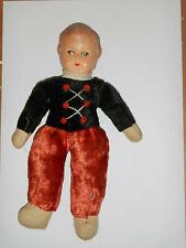 Rasselpuppe Puppe Stoffpuppe Spielzeug Antik mit Celluloid Kopf ca.23cm