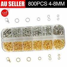 800x Jump Rings Split Rings Lobster Clasps Hooks For DIY Jewelry Making Necklace