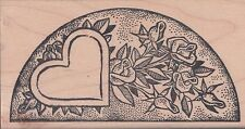 Heart With Roses Border Rubber Stamp