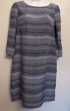 Monsoon UK8 EU36 US4 black/off-white 3/4 sleeve lined dress with silk outer